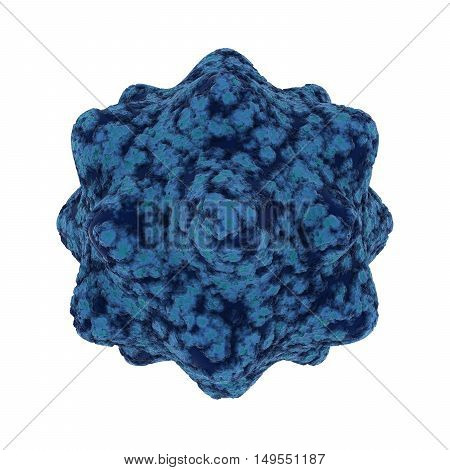 Cold Blue Virus Spore Isolated on Black Background - 3D Illustration