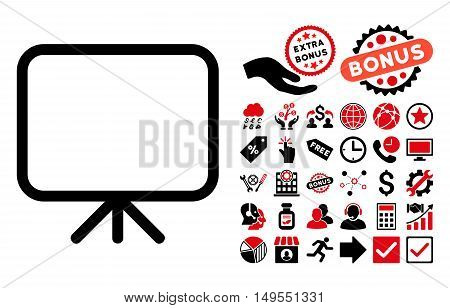 Presentation Screen pictograph with bonus elements. Glyph illustration style is flat iconic bicolor symbols, intensive red and black colors, white background.