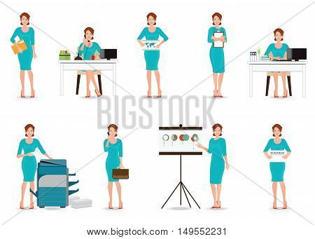 Business working women in smart suit isolated on white office workers taking on phone copying file presentation Cartoon character business people flat design vector illustration.