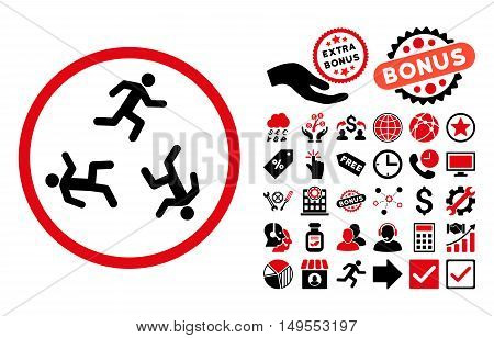 Running Men icon with bonus pictures. Glyph illustration style is flat iconic bicolor symbols, intensive red and black colors, white background.