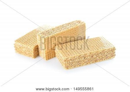 wafer filled with cocoa cream on white background