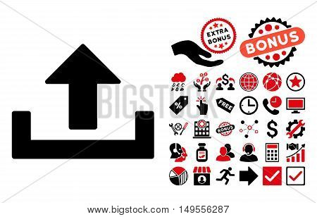 Upload pictograph with bonus design elements. Glyph illustration style is flat iconic bicolor symbols, intensive red and black colors, white background.