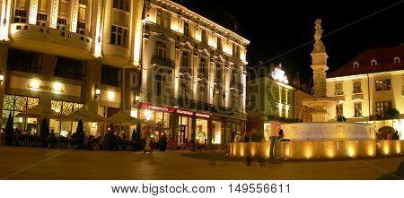 Bratislava Slovakia - September 10 2006: View of the main square in the old town of Bratislava Slovakia.