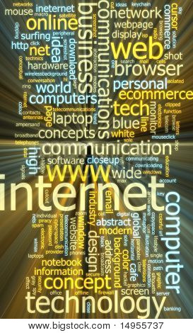 Word cloud concept illustration of internet web glowing light effect