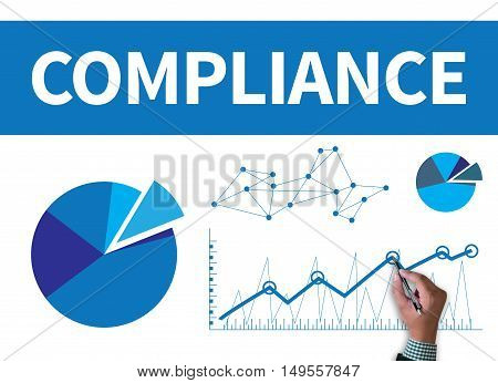 COMPLIANCE businessman work on white broad top view poster