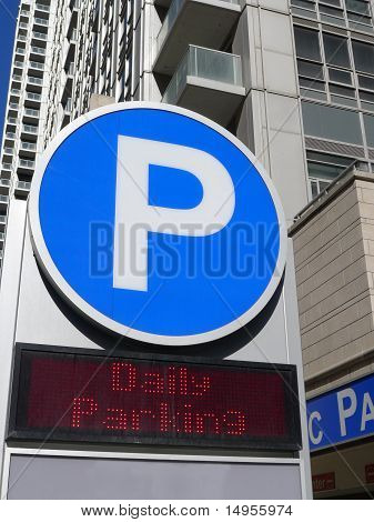 Large letter P at entrance to parking garage