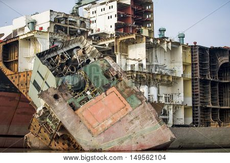 Partially broken down ship in a ship breaking yard in Chittagong Bangladesh