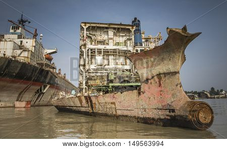 Partially broken down ship in a ship breaking yard in Chittagong Bangladesh