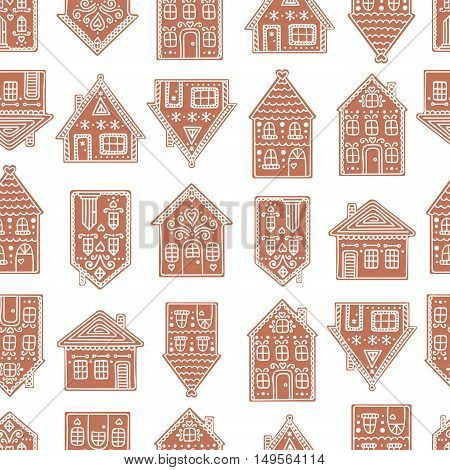Gingerbread houses. Seamless pattern with gingerbread house. Cute christmas background. Brown colors.