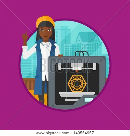 An african woman standing near 3D printer and pointing forefinger up. Engineer using a 3D printer. Woman working with 3D printer. Vector flat design illustration in the circle isolated on background.