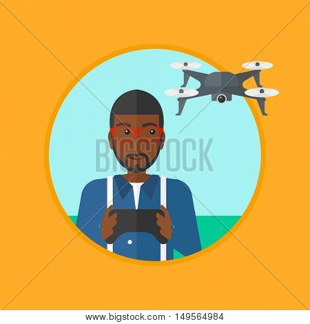 An african-american young man flying drone with remote control. Man operating a drone with remote control. Man controling a drone. Vector flat design illustration in the circle isolated on background.