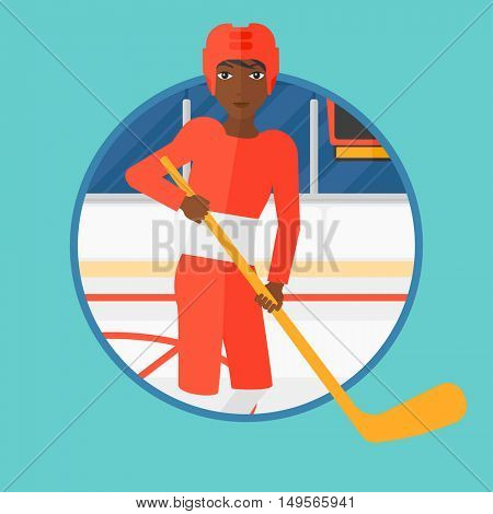 An african-american ice hockey player skating on ice rink. Professional ice hockey player with a stick. Woman playing ice hockey. Vector flat design illustration in the circle isolated on background.
