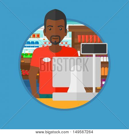 An african-american young cashier standing at the checkout in supermarket. Male cashier working at checkout in supermarket. Vector flat design illustration in the circle isolated on background.
