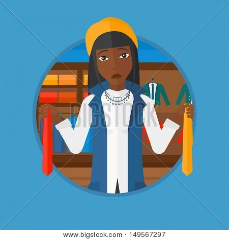 An african thoughtful woman holding two neckties and trying to choose the best one. Customer choosing necktie at clothing store. Vector flat design illustration in the circle isolated on background.