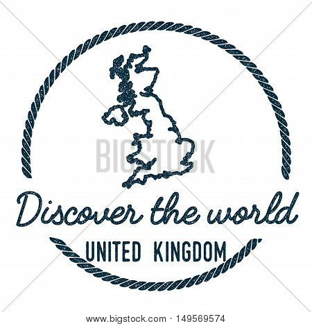 United Kingdom Map Outline. Vintage Discover The World Rubber Stamp With United Kingdom Map. Hipster