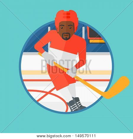 An african-american ice hockey player skating on ice rink. Ice hockey player with a stick. Sportsman playing ice hockey. Vector flat design illustration in the circle isolated on background.