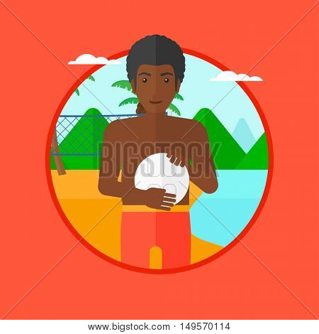 An african-american sportsman holding volleyball ball in hands. Beach volleyball player standing at the shore with voleyball net. Vector flat design illustration in the circle isolated on background.