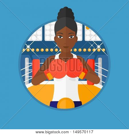 An african-american young sportswoman in boxing gloves. Professional female boxer standing in the boxing ring. Vector flat design illustration in the circle isolated on background.