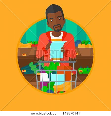 African-american thoughtful man standing at the supermarket with trolley full with products and holding a shopping list in hands. Vector flat design illustration in the circle isolated on background.
