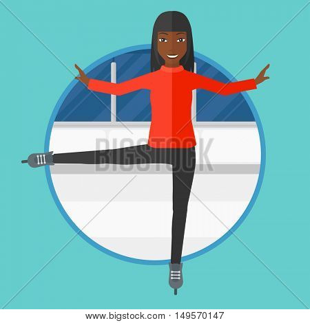 An african-american professional figure skater performing on ice skating rink. Young ice skater dancing. Woman on skates indoor. Vector flat design illustration in the circle isolated on background.