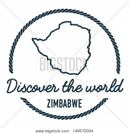 Zimbabwe Map Outline. Vintage Discover The World Rubber Stamp With Zimbabwe Map. Hipster Style Nauti