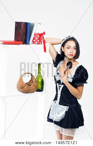 Young Woman In Housemaid Costume