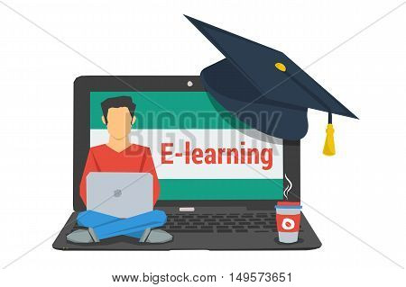 Vector isolated concept e-learning. Man sitting on laptop with graduate cap on corner and cup of coffee in flat style