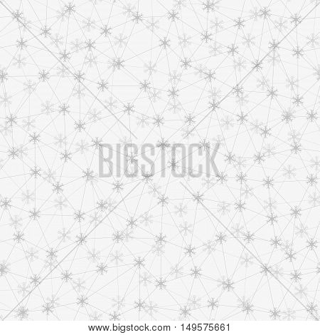 Messy connected snowflakes seamless background. Wallpaper created from different small triangles created from connected snowflakes. Seamless pattern.