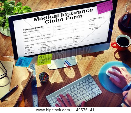 Medical Insurance Claim Form Document Concept