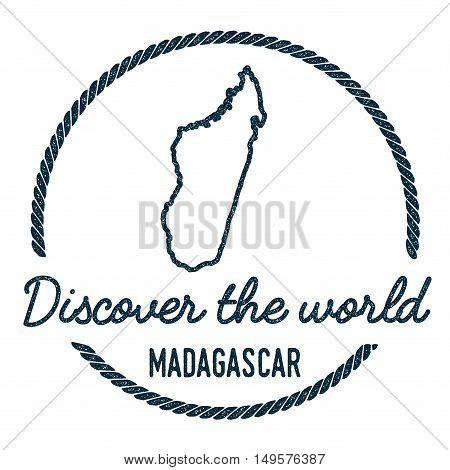 Madagascar Map Outline. Vintage Discover The World Rubber Stamp With Madagascar Map. Hipster Style N