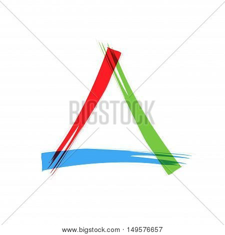 Abstract sign triangle scrawled, isolated in white