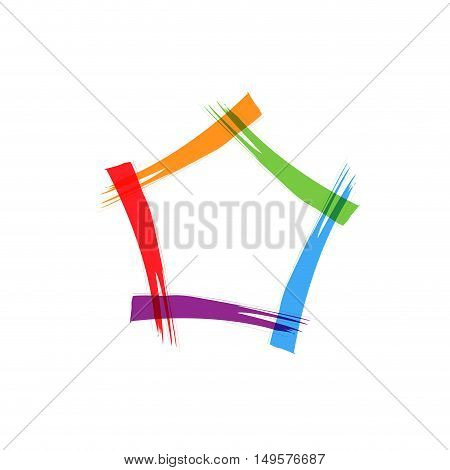 Abstract sign pentagon scrawled, isolated in white