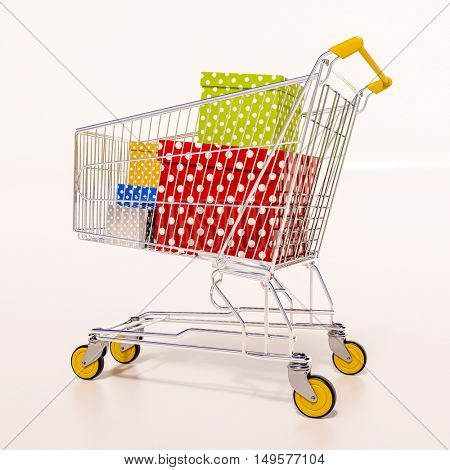 Happy New Year! Merry Christmas! Choosing a Christmas or New Year Gift,  Closeup Of A Shopping Cart With Gifts, Family Christmas Shopping, Christmas Tree Presents In Shopping Basket, Christmas Sale