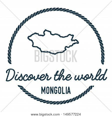 Mongolia Map Outline. Vintage Discover The World Rubber Stamp With Mongolia Map. Hipster Style Nauti