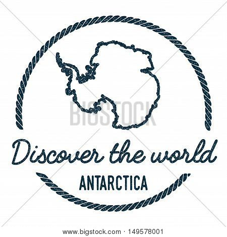 Antarctica Map Outline. Vintage Discover The World Rubber Stamp With Antarctica Map. Hipster Style N