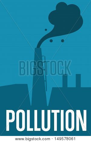 Air pollution banner, vector illustration. Air pollution by smoke coming out of two factory chimneys. Environmental problems. Smoking factory concept. Heavy industry plant. Smokestack background poster