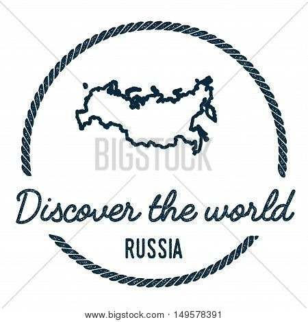 Russian Federation Map Outline. Vintage Discover The World Rubber Stamp With Russian Federation Map.