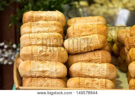 polish traditional smoked cheese made of salted sheep milk called oscypek