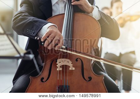 Professional cello player performing with other musicians classical music symphony orchestra unrecognizable person
