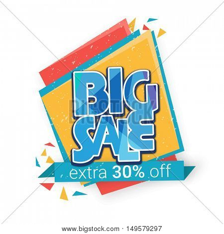 Big Sale Paper Tag or Banner design, Extra 30% Off, Vector illustration, Useable for Poster, Flyer, Pamphlet etc.