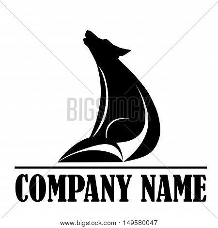 Vector sign wolf howling, isolated in white