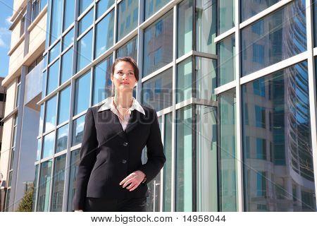 Businesswoaman walking downtown