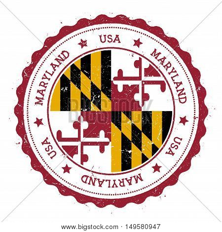 Maryland Flag Badge. Grunge Rubber Stamp With Maryland Flag. Vintage Travel Stamp With Circular Text
