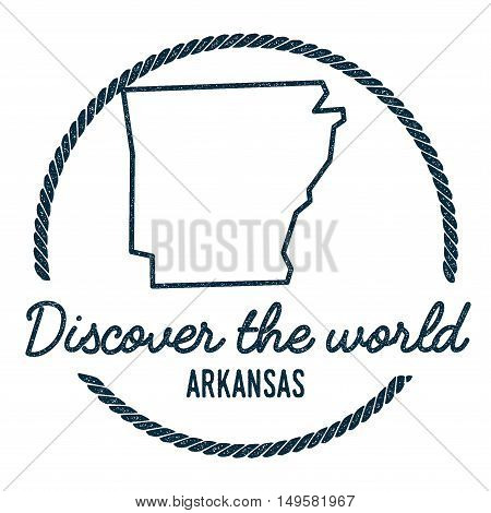 Arkansas Map Outline. Vintage Discover The World Rubber Stamp With Arkansas Map. Hipster Style Nauti