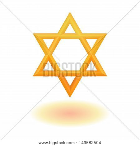 Golden six pointed geometric star figure. Star of David. Hexagram. Vector, isolated, esp 10