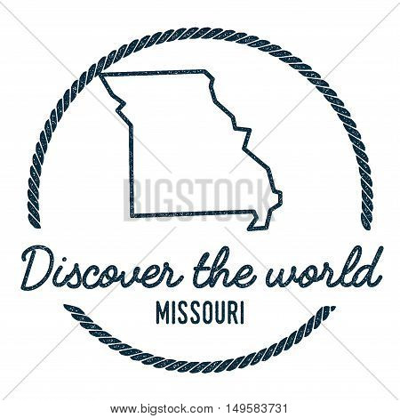 Missouri Map Outline. Vintage Discover The World Rubber Stamp With Missouri Map. Hipster Style Nauti