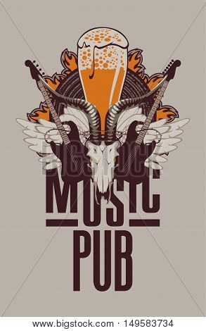 Banner for the pub with live music and electric guitar and goat skull