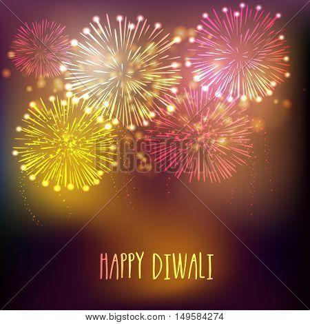 Elegant greeting card design with fireworks explosion for Indian Festival of Lights, Happy Diwali celebration.