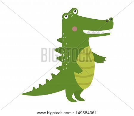 Cartoon green crocodile reptile flat vector illustration. and australian wildlife green crocodile reptile danger predator flat vector. Cartoon green crocodile reptile cartoon flat vector illustration