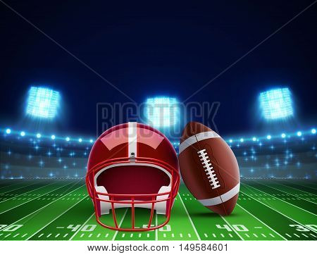 illustration of helmet ball and american football field eps 10